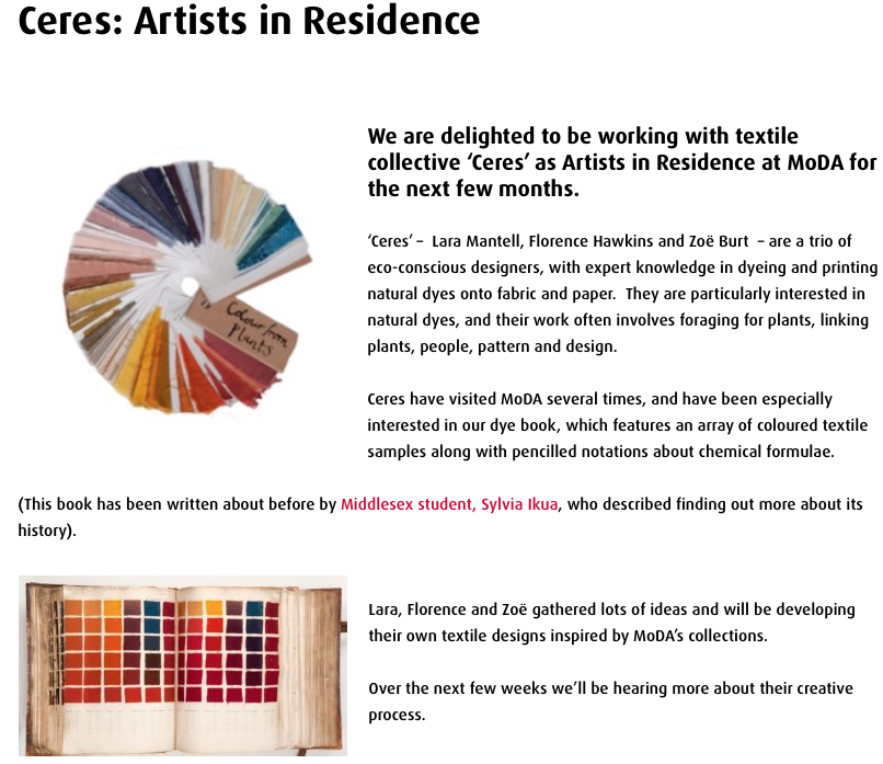 Ceres Artists in Residence at MoDA